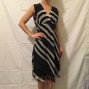 NWT DVF Black Silk Striped Midi Dress